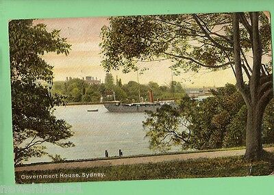 #c.   1906  Postcard - Government House, Sydney, With Ship