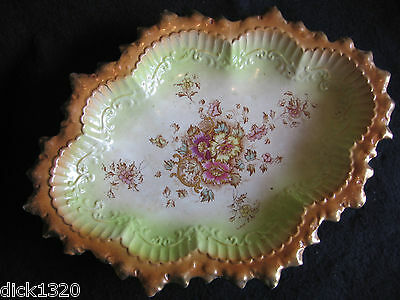 """NICE VICTORIAN STAFFORDSHIRE HAND-PAINTED 14"""" OVAL FRUIT BOWL c.1880's A/F"""