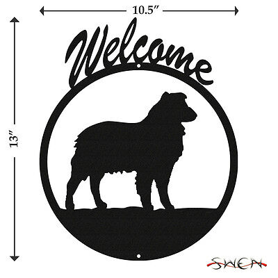 Australian Shepherd Black Metal Welcome Sign *NEW*
