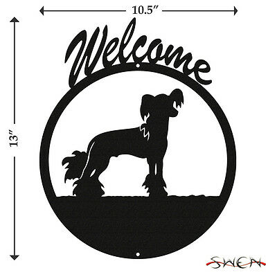 Chinese Crested Dog Black Metal Welcome Sign *NEW*