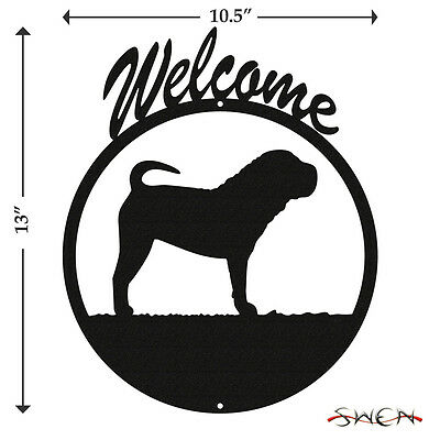 Chinese Shar Pei Black Metal Welcome Sign *NEW*