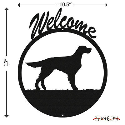 English Gordon Setter Black Metal Welcome Sign *NEW*
