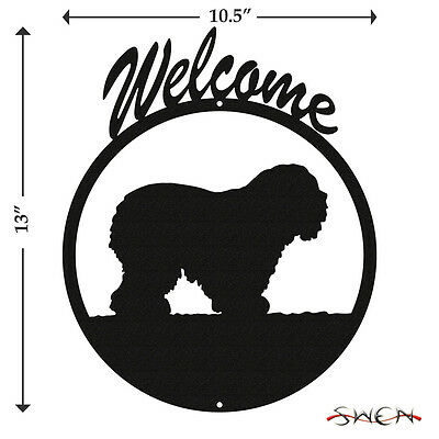 Old English Sheepdog Black Metal Welcome Sign *NEW*