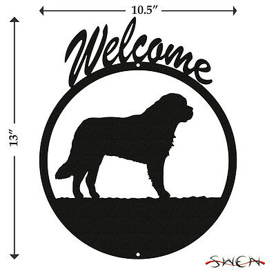 Saint Bernard Black Metal Welcome Sign *NEW*