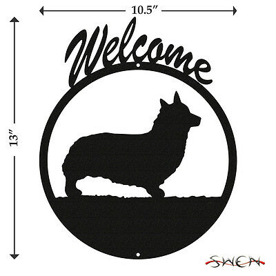Welsh Pembroke Corgi Black Metal Welcome Sign *NEW*