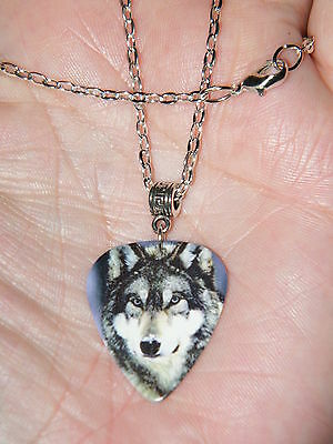 """GRAY WOLF Necklace WILD WOLVES Picture & Silver PEACE LOGO 21"""" Silver Chain NEW!"""