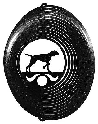 English Pointer Dog BLACK Metal Swirly Sphere Spinner *NEW*