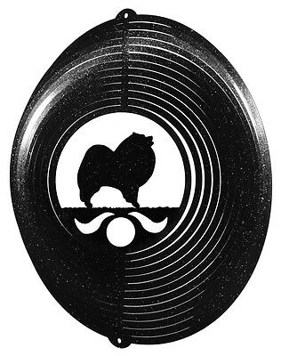 Keeshond Dog BLACK Metal Swirly Sphere Wind Spinner *NEW*