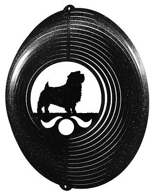 Norfolk Terrier Dog BLACK Metal Swirly Sphere Wind Spinner *NEW*