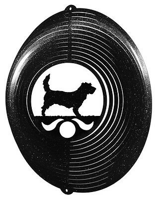 PBGV Dog BLACK Metal Swirly Sphere Wind Spinner *NEW*