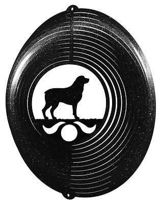 Rottweiler Dog BLACK Metal Swirly Sphere Wind Spinner *NEW*