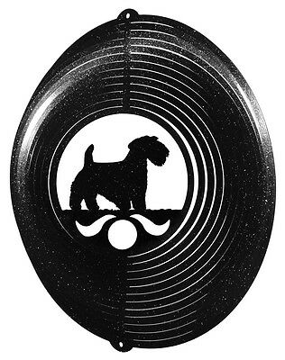 Sealyham Terrier BLACK Metal Swirly Sphere Wind Spinner *NEW*