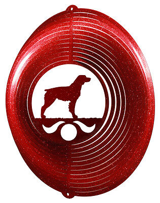 Brittany Spaniel Dog RED Metal Swirly Sphere Wind Spinner *NEW*