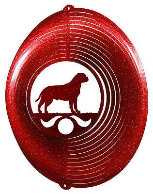 Bullmastiff Dog RED Metal Swirly Sphere Wind Spinner *NEW*