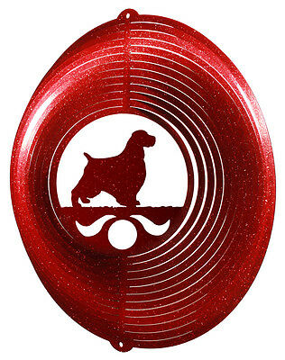 English Springer Spaniel Dog RED Metal Swirly Sphere Wind Spinner *NEW*
