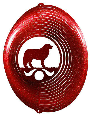 Great Pyrenees Dog RED Metal Swirly Sphere Wind Spinner *NEW*