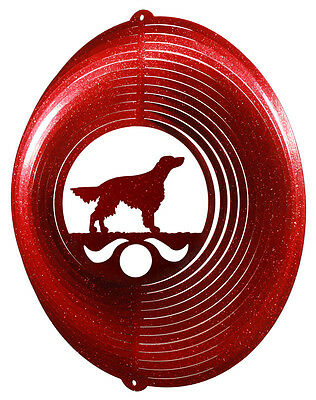 Irish Setter Dog RED Metal Swirly Sphere Wind Spinner *NEW*