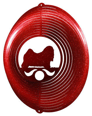 Lhasa Apso RED Metal Swirly Sphere Wind Spinner *NEW*