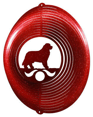 Newfoundland Dog RED Metal Swirly Sphere Wind Spinner *NEW*