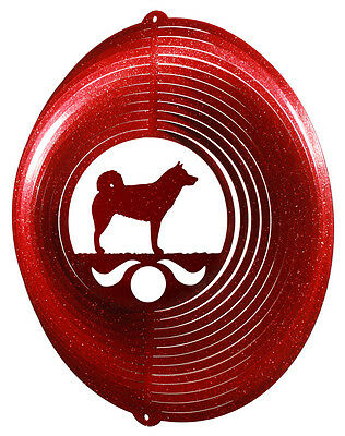 Norwegian Elkhound Dog RED Metal Swirly Sphere Wind Spinner *NEW*