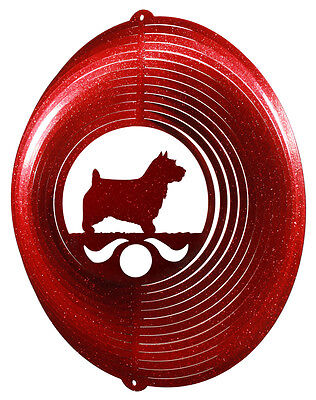 Norwich Terrier RED Metal Swirly Sphere Wind Spinner *NEW*