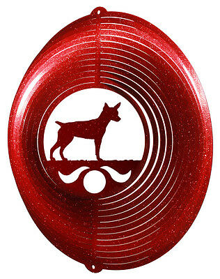 Rat Terrier Dog RED Metal Swirly Sphere Wind Spinner *NEW*