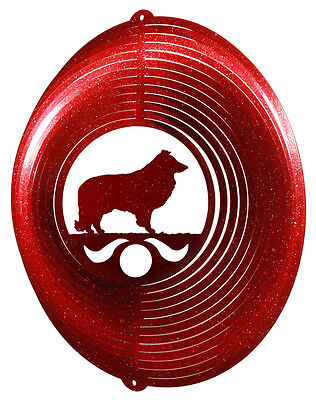 Sheltie Dog RED Metal Swirly Sphere Wind Spinner *NEW*