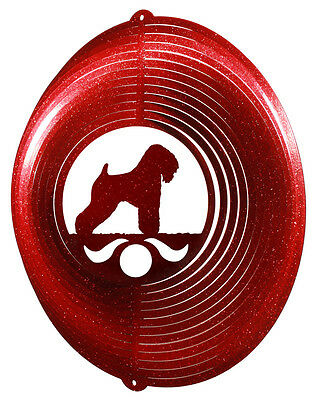 Wheaten Terrier Dog RED Metal Swirly Sphere Wind Spinner *NEW*