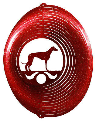 Whippet Dog RED Metal Swirly Sphere Wind Spinner *NEW*