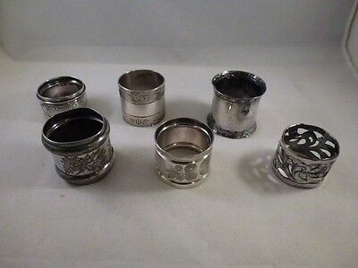 Victorian Era  LOT OF 6  ESTATE SALE  NAPKING RINGS    AS SHOWN.