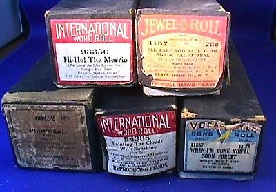 Lot of 5 Antique Player Piano Rolls INTERNATIONAL QRS JEWEL & More AS IS