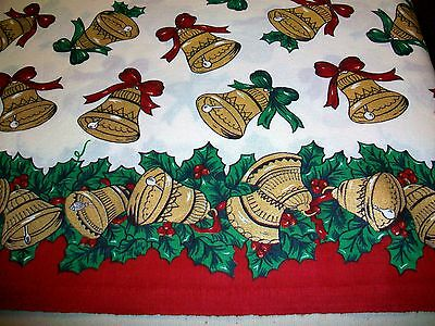 Festive Golden Bells Christmas Cotton Border Fabric