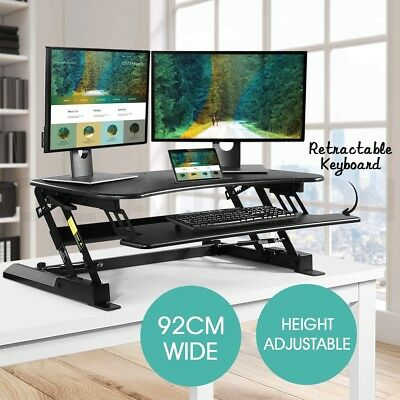 Sit Standing Desk 8 Position Adjustable Workstation Laptop Computer Riser Black