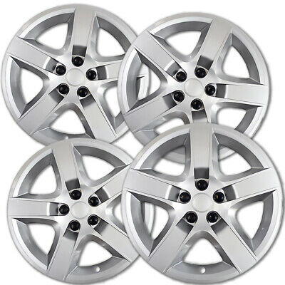 "4 Set Chevy MALIBU 17"" CHROME 5 Spoke Easy On Hub Cap Rim Steel Wheel Skin Cover"