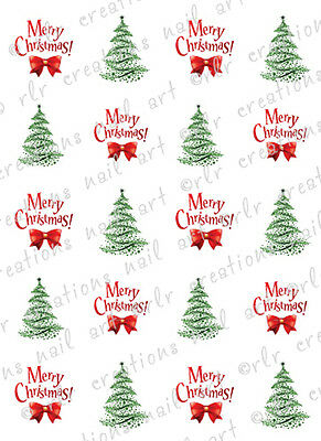 20 NAIL DECALS * MERRY CHRISTMAS AND TREES * ASSORTED WATER SLIDE NAIL DECALS