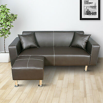 HOMCOM Deluxe Faux Leather Sectional Sofa Set Loveseat Couch Ottoman Cushion