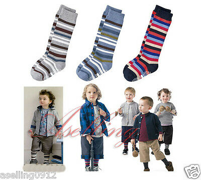 3 pairs Toddlers Kids boys Striped Cotton Knee High Socks Hose Stockings S433