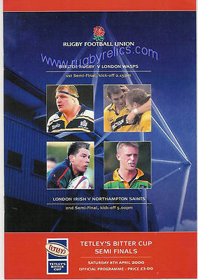 Bristol, Wasps, London Irish, Northampton, 2000 Cup Semi-Finals Rugby Programme