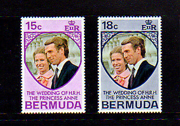 BERMUDA - 1973 - ROYAL WEDDING - PRINCESS ANNE - MINT SET!