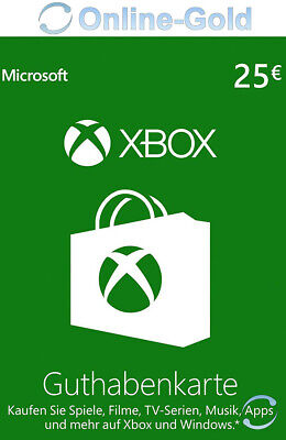 Xbox Live Card - 25 Euro Microsoft Guthaben - ms Xbox 360 / Xbox One Live Card