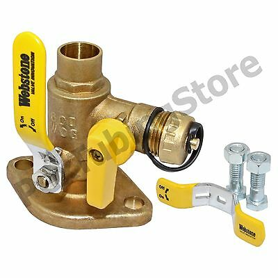 "(2) 3/4"" Sweat Isolator Pump Flange Valves w/ Drain by Webstone #50413"