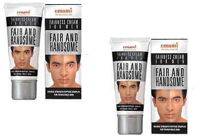 2 Tubes Emami Mens Fair and Handsome Fairness Skin Lightening Face Cream-2 x 30g