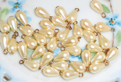 #961 Vintage Beads Drops Dangles Teardrop Pearl Japan Charm Charms Ivory NOS