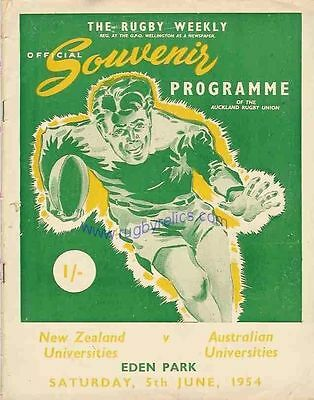 NEW ZEALAND v AUSTRALIA UNIVERSITIES 3rd Test 1954 RUGBY PROGRAMME