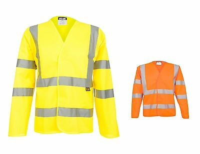 Mens Work Long Sleeve Hi Vis Waistcoat Vest By SITE KING Size S to 7XL - W2373
