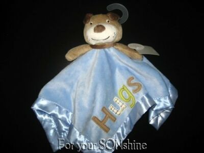 Carters brown puppy dog blue security blanket lovey Hugs Satin trim rattle NEW