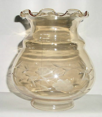 "6-3/8""x 3"" OIL LAMP CHANDELIER SCONCE SHADE ETCHED CRYSTAL GLASS AMBER LUSTER"