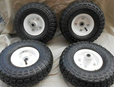"""4 New Tire 10"""" Steel Air Pneumatic, Hand Truck Dolly, Wagon Industrial Wheel Usa"""