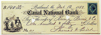 1881 Canal National Bank Portland Maine Cancelled Check