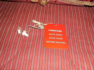 EARPHONE  FOR A VINTAGE PRECOR SOLID STATE, AM/FM  RADIO # 731N